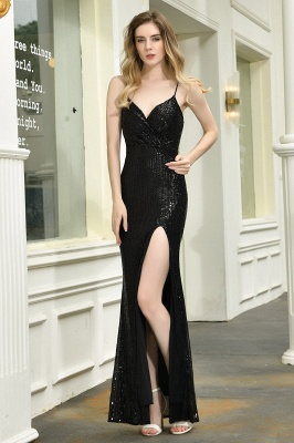 Black Spaghetti Strap V Neck Sequined Front Slit Floor Length Sheath Prom Dresses | Backless Evening Gown