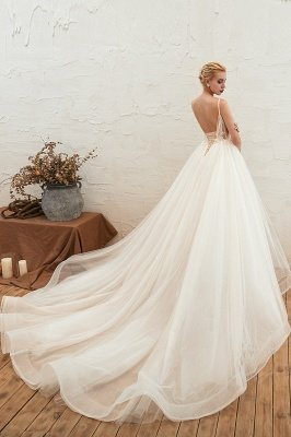 Gorgeous Spaghetti Straps V-neck Floor Length A-line Lace Tulle Wedding Dresses_14