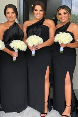 One Shoulder Floor Length Sexy Bridesmaid Dresses with Front Slit_2