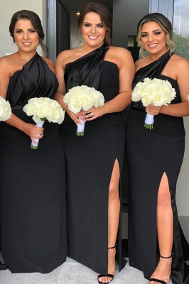 One Shoulder Floor Length Sexy Bridesmaid Dresses with Front Slit_1