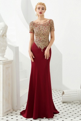 Bateau Short Sleeves Applique Fitted Long Prom Dresses | Burgundy Evening Dresses