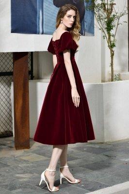 Burgundy Flare Sleeve Deep V Neck Tea Length A Line Prom Dresses | Ruffles Evening Dresses_7