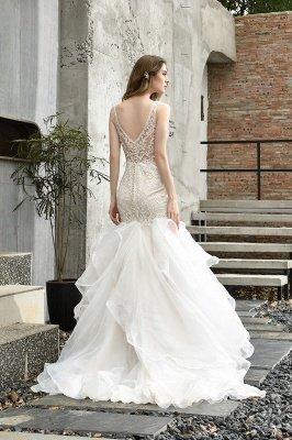 Tulle Lace Sleeveless Sexy Mermaid Wedding Dress_3