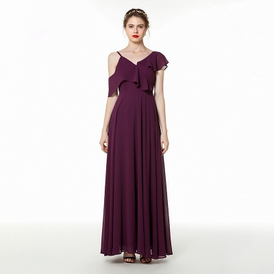 Cold-Shoulder Floor Length Chiffon Flounce Prom Dresses | Long Cheap Evening Dresses