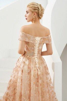Gorgeous Off the Shoulder A-line Floor Length Lace Prom Dresses | Long Evening Dresses Cheap_8