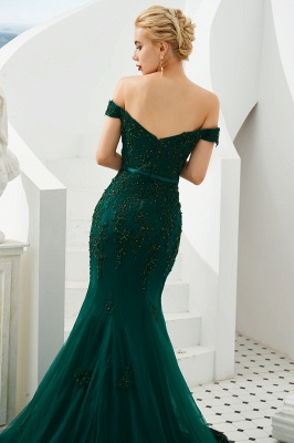Gorgeous Off the Shoulder Jade Long Mermaid Prom Dresses | Floor Length Evening Dresses_7