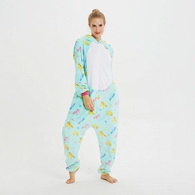 Cute Animal Pyjamas for Women Triceratops Onesie, Green_10