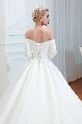 Gorgeous Off the Shoulder Half Sleeves Floor Length A-line Satin Wedding Dresses_9