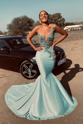 Jewel Sleeveless Sheer Appliques Sexy Mermaid Prom Dresses | African Style Prom Dresses_1