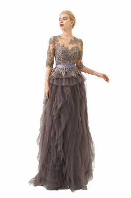 Elegant Jewel Half Sleeves Ribbon Belt A-line Lace Tulle Prom Dresses_1