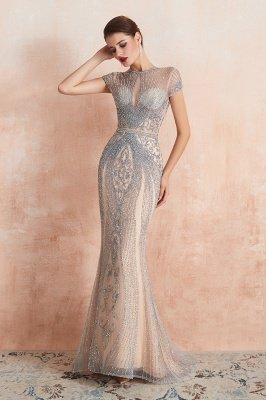 Cap Sleeves Keyhole Jewel Gorgeous Beaded Long Prom Dresses | Elegant Long Evening Dresses_7