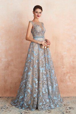 Bateau Cap Sleeves Belted Sexy Long Lace Prom Dresses | Gorgeous Lace Evening Dresses_6