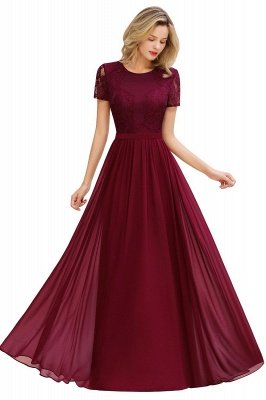 Short Sleeves Floor Length Jewel Chiffon Bridesmaid Dresses | Burgundy Prom Dresses
