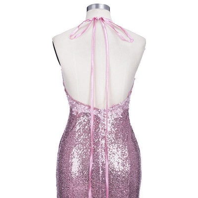 Spaghettis-Straps Rose Pink Sequins Prom Dresses | Sparkly Long Mermaid Formal Dress_8