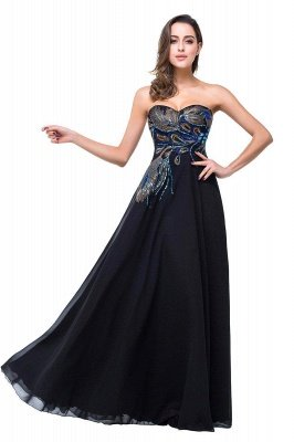A-line Sweetheart Black Cheap Evening Dress with Embroidery_1