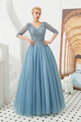 Gorgeous Half Sleeves V-neck A-line Floor Length Prom Dresses | Long Tulle Evening Dresses_6