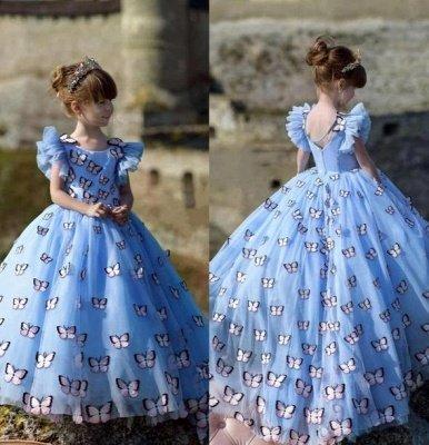 Jewel Cap Flounce Sleeves Puffy Flower Girl Dresses with Handmade Butterflies_2