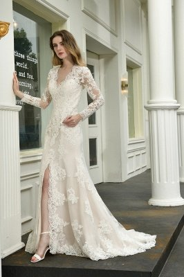 Gorgeous V-Neck Long Sleeves Form-Fitting Wedding Dress With Slit_7