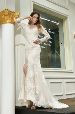 Gorgeous V-Neck Long Sleeves Form-Fitting Wedding Dress With Slit_8