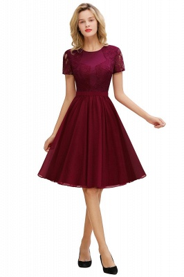 Jewel Kee Length Short Sleeves Lace Bridesmaid Dresses | Burgundy Wedding Gues Dresses