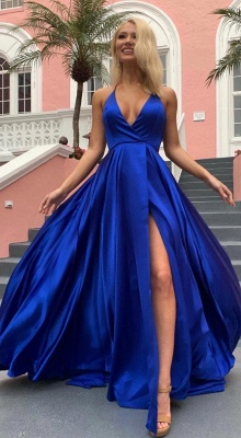 Silky A-line Spaghetti Straps Deep V-neck Royal Blue Prom Dresses with a Leg Slit