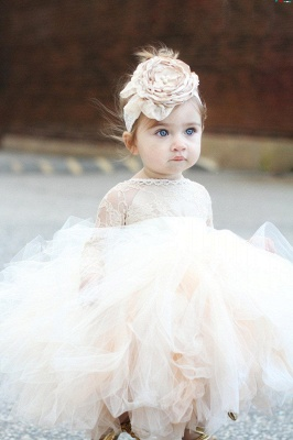 Angelic Jewel Long Sleeves Ball Gown Lace Flower Girl Dresses | Kids Dresses for Wedding