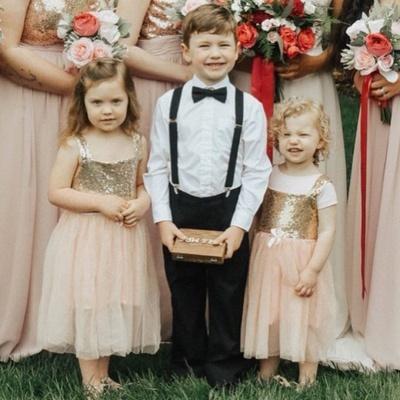 Straps Tea Length Sequins Tulle Flower Girl Dresses | Kids Dress for Wedding_2
