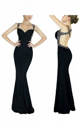Sexy Sweetheart Open Back Long Black Prom Dresses | Long Fitted Evening Dresses