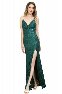 Black Spaghetti Strap V Neck Sequined Front Slit Floor Length Sheath Prom Dresses | Backless Evening Gown_2