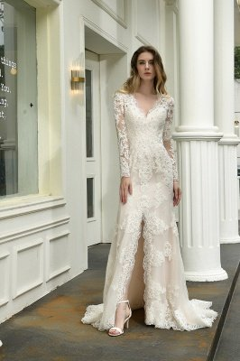 Gorgeous V-Neck Long Sleeves Form-Fitting Wedding Dress With Slit_6