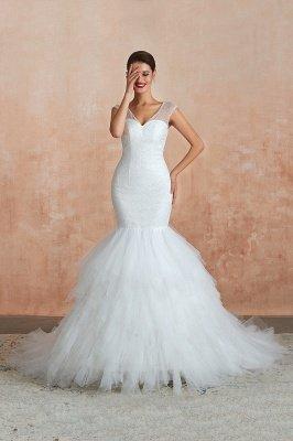 Floor Length V-neck Cap Sleeves Sexy Mermaid Wedding Dresses | Affordable Bridal Gown_3