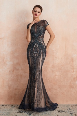 Cap Sleeves Keyhole Jewel Gorgeous Beaded Long Prom Dresses | Elegant Long Evening Dresses_11