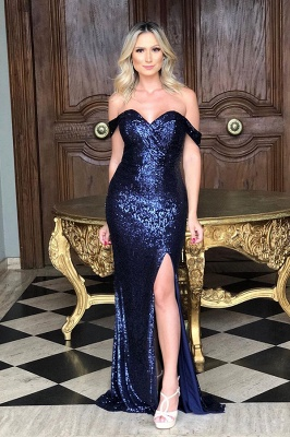 Off the Shoulder Front Slit Mermaid Sequined Prom Dresses | Sparkly Long Evening Dresses_3