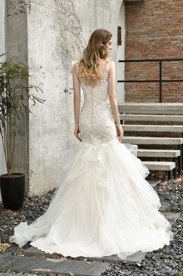 Gorgeous Floor Length Tulle Appliques Mermaid Wedding Dress_3