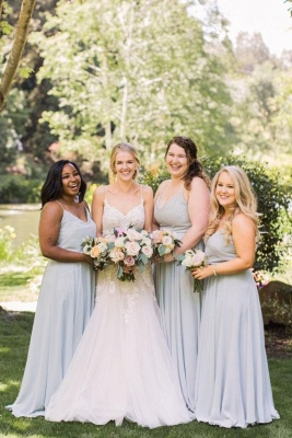 Plain Dusty Blue Spaghetti Straps V-neck Chiffon Long Bridesmaid Dresses