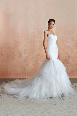 Floor Length V-neck Cap Sleeves Sexy Mermaid Wedding Dresses | Affordable Bridal Gown_7