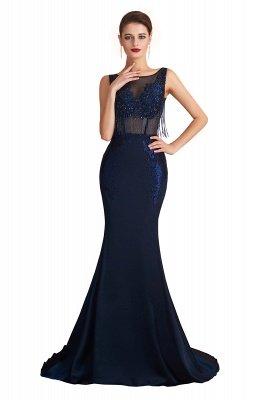 Bateau Backless Beaded Sexy Long Mermaid Prom Dresses | Glamorous Floor Length Evening Dresses_1
