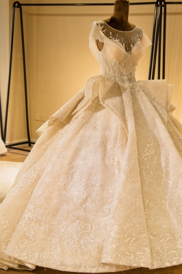Luxury Cap Sleeve Appliques Tulle A-line Wedding Dress | Haute Couture Bridal Gowns Series_4