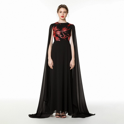 Black Jewel Floor Length Watteau Train Chiffon Prom Dresses | Long Evening Dresses Online