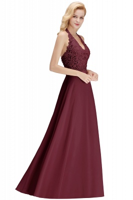 Elegant Halter A-line Appliques Chiffon Long Bridesmaid Dresses | Simple Wedding Guest Dresses_33