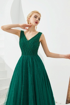 Gorgeous Straps V-neck A-line Long Prom Dresses | Jade Floor Length Evening Dresses_5