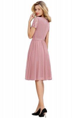Jewel Kee Length Short Sleeves Lace Bridesmaid Dresses   Burgundy Wedding Gues Dresses_3