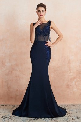 Bateau Backless Beaded Sexy Long Mermaid Prom Dresses | Glamorous Floor Length Evening Dresses