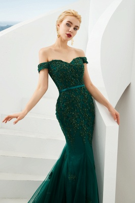 Gorgeous Off the Shoulder Jade Long Mermaid Prom Dresses | Floor Length Evening Dresses_5