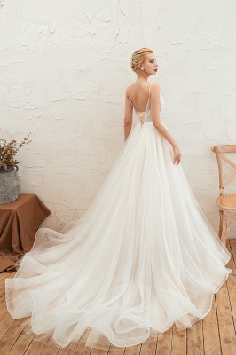 Elegant Spaghetti Straps Lace Up A-line Floor Length Lace Tulle Wedding Dresses_10