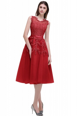 EMORY | Crew Tea Length Lace A-Line Appliques Short Prom Dresses_3