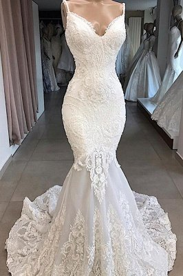 Spaghetti Straps  Sweetheart Lace Mermaid Wedding Dresses | Trumpet Style Bridal Gowns