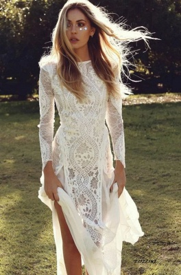 Gorgeous Jewel Long Sleeves Floor Length Open Back Sheath Lace Wedding Dresses | Destination Bridal Dresses