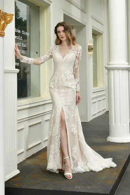 Gorgeous V-Neck Long Sleeves Form-Fitting Wedding Dress With Slit_4