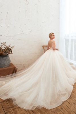Gorgeous Spaghetti Straps V-neck Floor Length A-line Lace Tulle Wedding Dresses_8